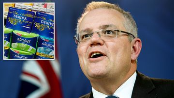 Federal Treasurer Scott Morrison has revealed plans to remove the 10 percent GST from tampons and sanitary pads. Picture: AAP