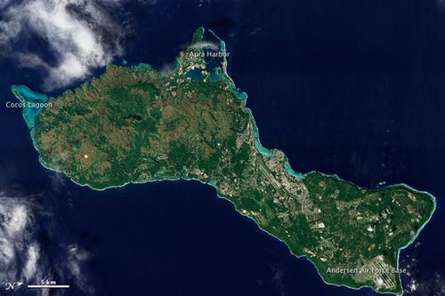 A handout photo made available by NASA shows a satellite image of the island of Guam acquired by NASA's Earth Observing-1 (EO-1) satellite in 2011. (AAP)