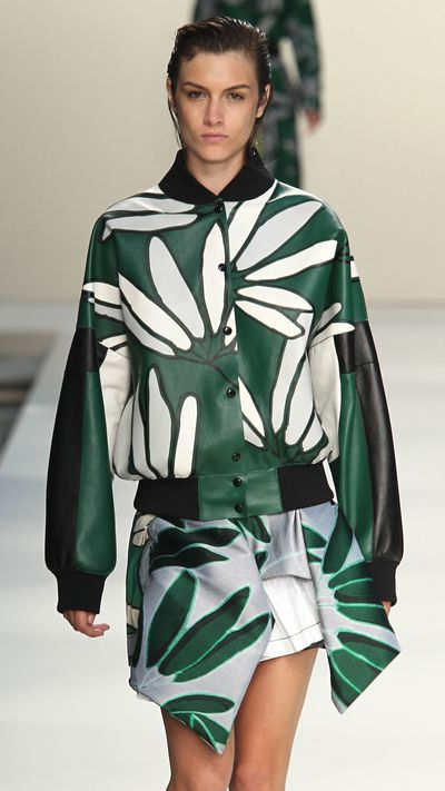 Make it your statement piece. At Marni the bomber got a refresh with loud florals and soft leather.