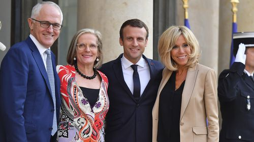 Malcolm Turnbull and wife Lucy met with President Macron and wife Brigitte in Paris in July 2017 (AP)