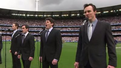 The cast of hit stage musical Jersey Boys sang the national anthem a capella. Certainly a unique choice for the 2009 Grand Final. (YouTube)