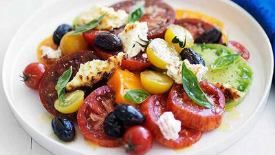 <strong>Heirloom tomato salad with baked ricotta and olives</strong>