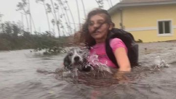 Julia Aylen wades through waist deep water carrying her pet dog as she is rescued from her flooded home during Hurricane Dorian in Freeport, Bahamas.