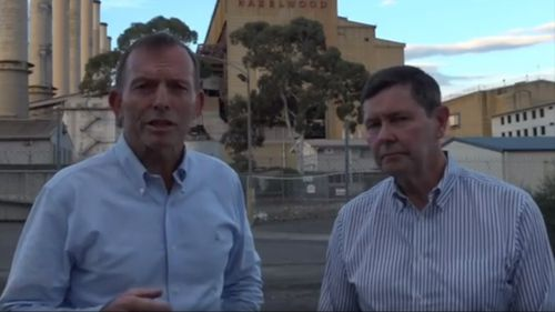 Mr Abbott joined with fellow conservative MP Kevin Andrews to speak in support of coal. (Facebook)