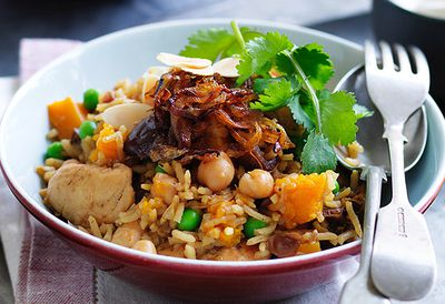 Chickpea and chicken pilaf