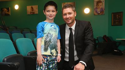 Young Conor posing with Clarke at the hospital. (Getty)