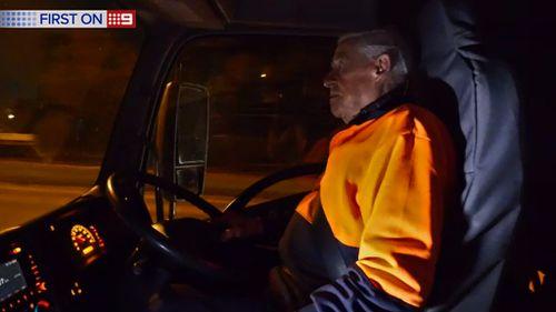 Peter Ward still works five days a week delivering vegetables. (9NEWS)