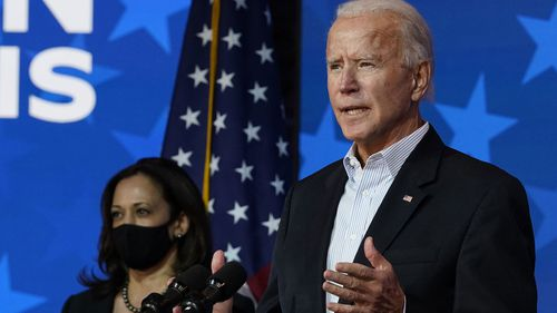 Democratic presidential candidate former Vice President Joe Biden speaks Thursday, Nov. 5, 2020, in Wilmington, Delaware