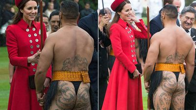 The Maori man's bare bottom contrasted sharply with the buttoned-up royals.