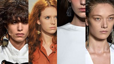 It will be months until SS16 collections start dropping into stores, but some of the style cues are already trickling down from the runway to the street. One such trend is larger-than-life statement earrings, in graphic styles and interesting shapes. Be an early adopter and add one of these pairs to your everyday look, or take them for a whirl for a more formal dress code...