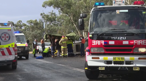 Emergency services were called to Sunny Corner Road in Portland after a car rolled this afternoon.