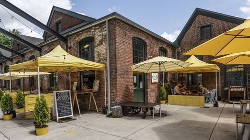 Jason Hoy and Melanie Hansche transformed part of an old 1800s silk mill into their cafe three years ago.