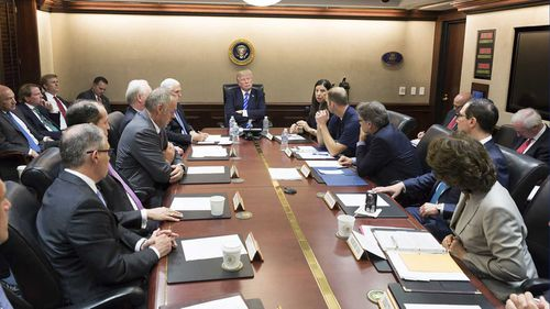 President Donald Trump holds a meeting in the Situation Room.