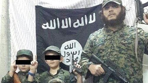 Australian terrorist Khaled Sharrouf, who is likely dead, pictured with his sons in Syria.