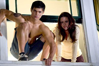 "<B>The wolf:</B> Jacob (Taylor Lautner) is a member of the Quileute, a Native American tribe whose members a) have the ability to shapeshift into wolves, and b) are all super-hot. <br/><br/><B>Scare factor:</B> Very, if by ""scary"" you mean ""attractive"". Jacob's bulging muscles and frequent shirtlessness mean you'd probably run towards him, not away."