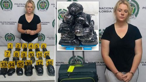 Cassie Sainsbury and some of the 6kg of cocaine she was caught with in Colombia earlier this year.