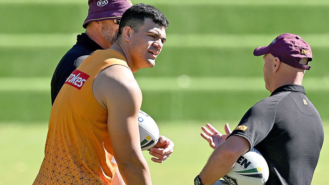 David Fifita speaks to Allan Langer during a Brisbane Broncos NRL training