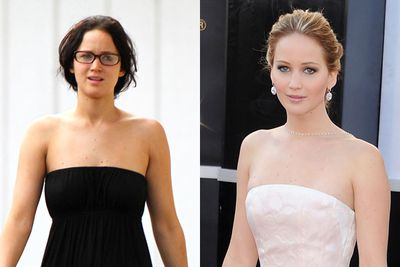 A well fitted dress, hair lightener and a bit of bling turns Jennifer into a Hollywood starlet.