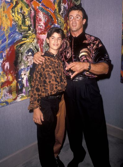 "Actor Sylvester Stallone and son Sage attend Sylvester Stallone's Paintings Opening Night Exhibition and Cocktail Reception to Benefit Yes on Proposition 128 ""Big Green"" on September 10, 1990 at Hanson Galleries in Beverly Hills, California."