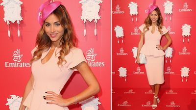 Ann Kathrin Brommel, girlfriend of German footballer Mario Gotze attends the Emirates Marquee on Oaks Day. (Getty)