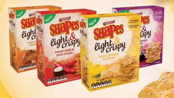 Arnott's Shapes Light & Crispy range