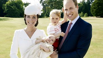 """Kensington Palace has released a number of official photos following the christening of Britain's newest royal, Princess Charlotte.<br _tmplitem=""""93""""> <br _tmplitem=""""93"""">Here, the young princess is pictured with her parents, the Duke and Duchess of Cambridge, and her older brother Prince George.<br _tmplitem=""""93""""> <br _tmplitem=""""93"""">The princess was christened inside the Church of St Mary Magdalene on the Sandringham country estate of Queen Elizabeth.<br _tmplitem=""""93""""> <br _tmplitem=""""93"""">Only 21 guests attended the intimate ceremony, although royal watchers and fans lined up outside to greet the young royal family.<br _tmplitem=""""93""""> <br _tmplitem=""""93"""">Parents Prince William and Princess Kate arrived at the ceremony pushing their baby daughter in a vintage pram, used by Queen Elizabeth for her own children in the past, with their son Prince George by their side. (Mario Testino /Art Partner, AAP)"""