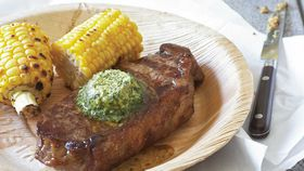 Sirloin steaks with chimichurri butter