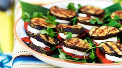 Eggplant quesadillas with spinach