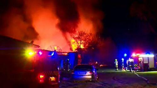 Fire tears through farm shed north-west of Sydney's CBD