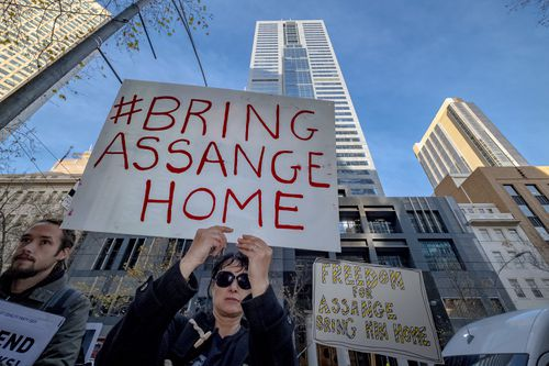 A rally was held last month in support of Assange. Picture: AAP