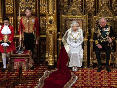 The Imperial State Crown sat on a table to Her Majesty's right.