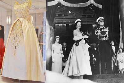 Queen Elizabeth II wore another Norman Hartnell dress for the opening of New Zealand's parliament in 1963.