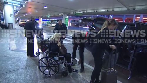 Roslyn Packer arrived at Los Angeles this morning. (9NEWS)