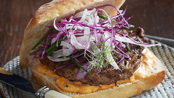 Cajun steak roll with red pepper mayonnaise and fennel slaw
