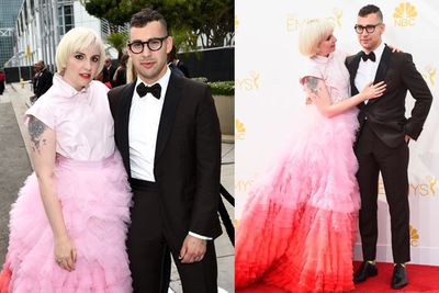 <i>Girls</i> star and creator Lena turned up with the ultimate accessory: geek-chic singer-songwriter boyfriend Jack Antonoff. We're still not digging the top half of that puffcake dress though.