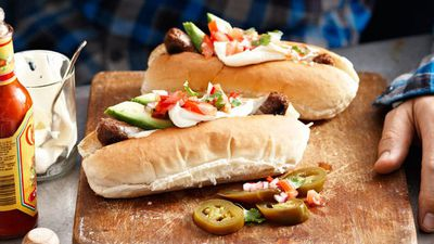 """Recipe: <a href=""""https://kitchen.nine.com.au/2016/05/13/13/29/mexican-chorizo-hot-dogs"""" target=""""_top"""">Mexican chorizo hot dogs</a>"""