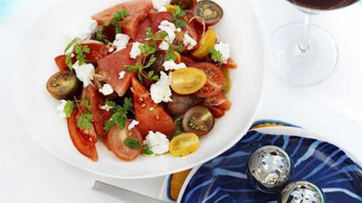 "Click through for our <a href=""http://kitchen.nine.com.au/2016/05/17/13/32/watermelon-tomato-and-goats-cheese-salad"" target=""_top"">watermelon, tomato and goat's cheese salad</a> recipe"