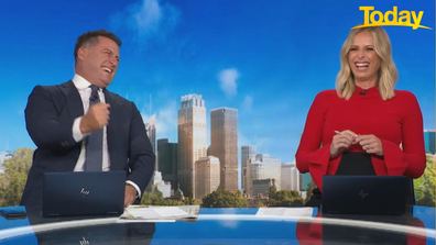 """The """"two fingered salute"""" left Today host Karl Stefanovic and Sylvia Jeffreys in stitches."""