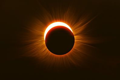 A solar eclipse viewed in Wisconsin USA on August 21, 2017.