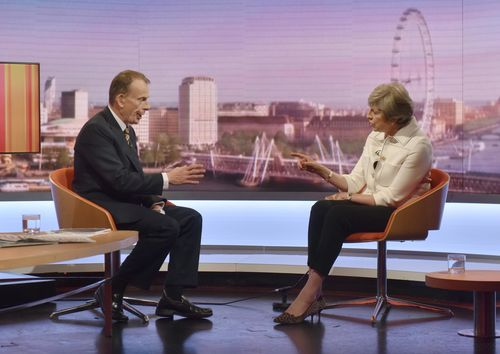 UK Prime Minister Theresa May has revealed Donald Trump told her to sue the EU over Brexit, on the Andrew Marr show on BBC. Picture: AAP
