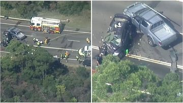 A police officer is in a critical condition after a three-vehicle crash on Heathcote Road, in Sydney's south.