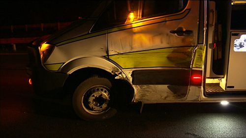 An ambulance sustained serious damage in the crash.