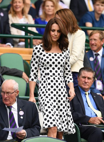 The Duchess of Cambridge Kate Middleton in Dolce & Gabanna on day one of the Wimbledon Lawn Tennis Championships at the All England Lawn Tennis and Croquet Club in London, England, July, 2017
