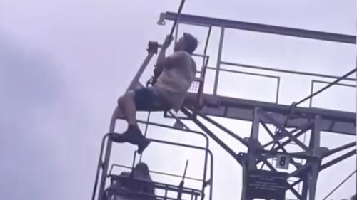 The teen was filmed performing pull-ups before he fell to the ground.