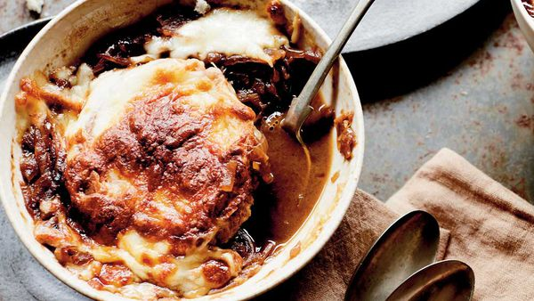 Classic French onion soup with homemade croutons recipe