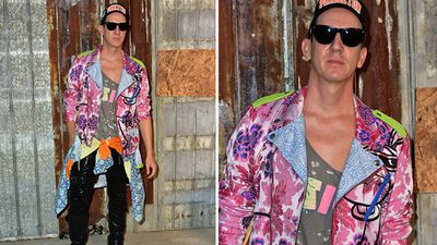 Designer Jeremy Scott in head to toe colour attending the Givenchy show. (Getty)