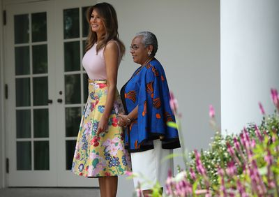 Lady Margaret Kenyatta and US First Lady Melania Trump in Valentino