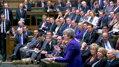 UK Prime Minister Theresa May addresses the UK parliament.