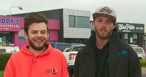 Tradie Shaun Trevaskis and Blake are the hero tradies who stopped the alleged car thief. Picture: TODAY