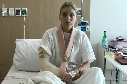 Reporter Alex Bernhardt was hospitalised with an infection in her arm.